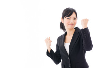 young asian businesswoman cheering on white background