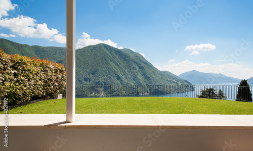 beautiful panorama Lugano lake