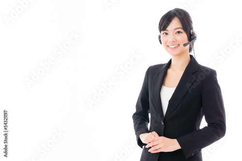 young asian businesswoman with headset