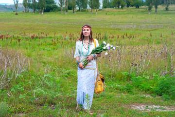 beautiful  woman wiyh bunch of flowers