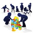 Kinder bauen und spielen
