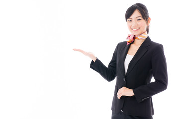 young asian businesswoman showing on white background