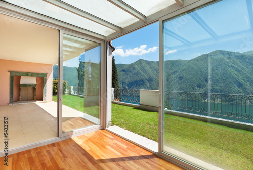 Interior apartment with garden, veranda