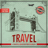 Vintage travel london vacation poster poster