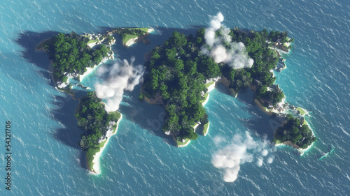 World map on the water, island with  trees and clouds.