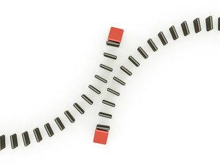 Domino effect two is red isolated