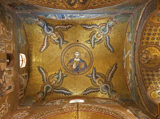 Palermo - Ceiling of side nave of Monreale cathedral - Christ