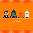 Halloween Dracula, Witch, Pumpkin & Ghost Orange Dots