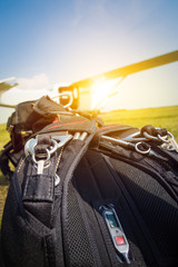 Skydiving parachutes ready to international competition.