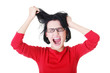 Woman stressed is going crazy pulling her hair.
