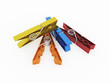 Rendered colour pegs isolated