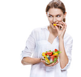 flawless european woman & raw vegetable salad - isolated
