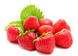 Red strawberry whith leaf isolated