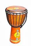 traditional african drum on white background, with painted motif