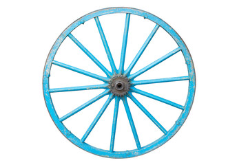 An old  blue wagon wheel