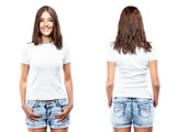 White t-shirt on a young woman template
