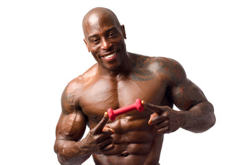 Strong bodybuilder man with perfect abs,biceps, chest