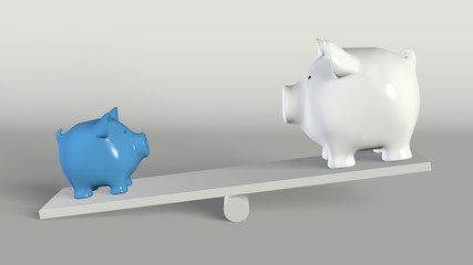 Piggy bank -  big and small pig on a rocker