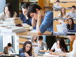 Montage with pictures of students