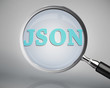 Magnifying glass showing json word