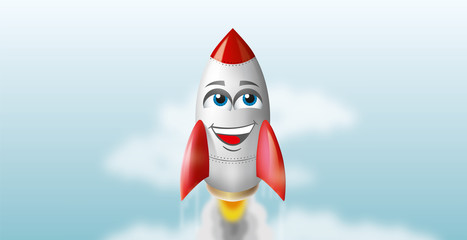 Illustration of a flying  rocket in the sky. vector smile