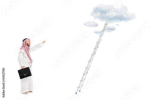Male arab person with briefcase standing in front of a ladder