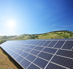 View of a solar photovoltaic cell panels under sunny sky
