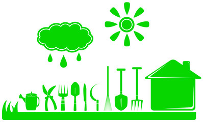 set green garden tools and house, cloud with drop, sun