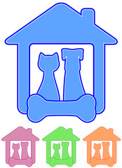 icon with home pet - dog and cat with animal food