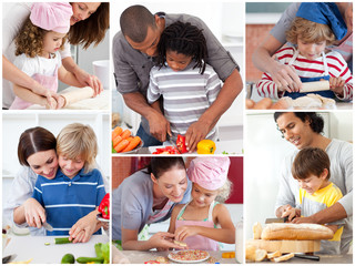 Collage of parents with their children