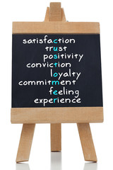 Various satisfaction terms written on blackboard