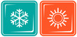 set two icon with snowflake and sun - climate symbol