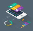 mobile phone infographics in flat color design - 54327542