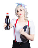 Pin-up girl holding soft drink bottle