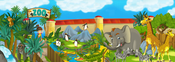 Cartoon zoo - amusement park - illustration