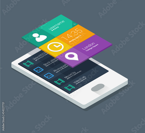 mobile application concept in flat colors and isometric design