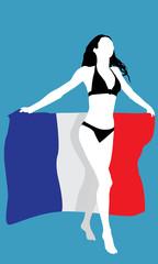 Frau mit französischer Flagge