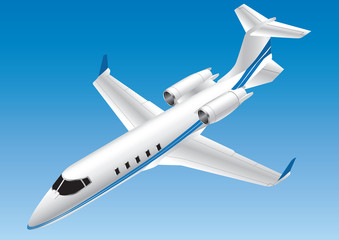 Detailed Isometric Vector Illustration of a Learjet