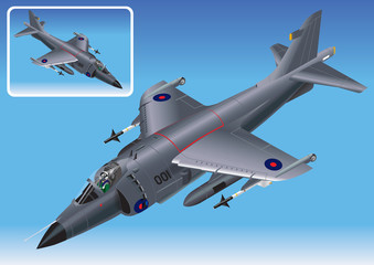 Detailed Isometric Vector Illustration of Sea Harrier Jet