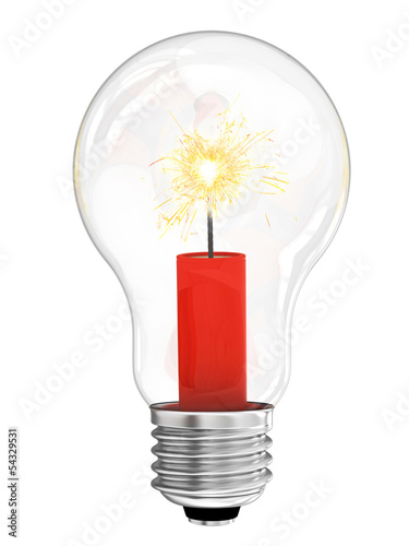 Lightbulb with dynamite with burning wick inside