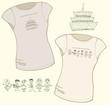 Women's t-shirt illustration. Design elements