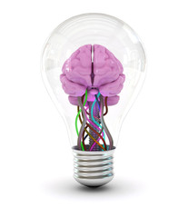 Brain inside a light bulb made in 3d