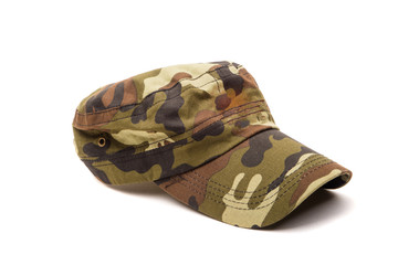 Camouflage cap isolated on white