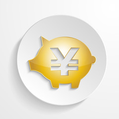 vector yen  piggy bank with shadow effect