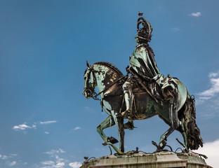Statue of King Jose I on Praca do Comercio in Lisbon, Portugal