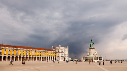 Panorama of Praca do Comercio and Statue of King Jose I in Lisbo
