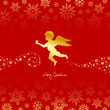 Angel Holding Star Red/Gold