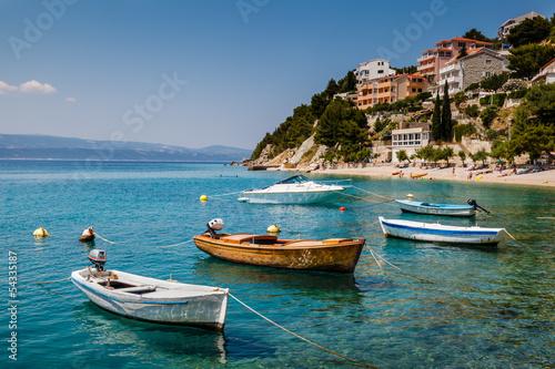 Foto op Canvas Caraïben Motor Boats in a Quiet Bay near Split, Croatia