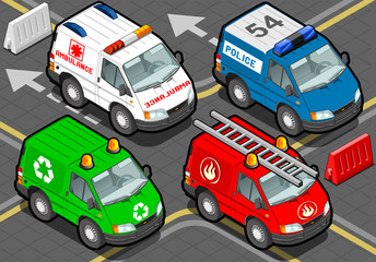 Isometric Trucks firefighters, police, ambulance, garbage