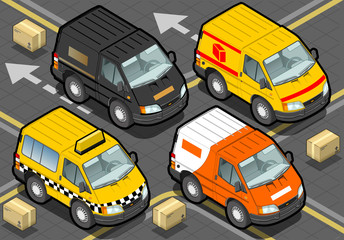 Isometric Delivery Trucks And Taxi In Front View
